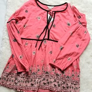 Womens Lucky Brand Tunic Top with Tie at Neckline
